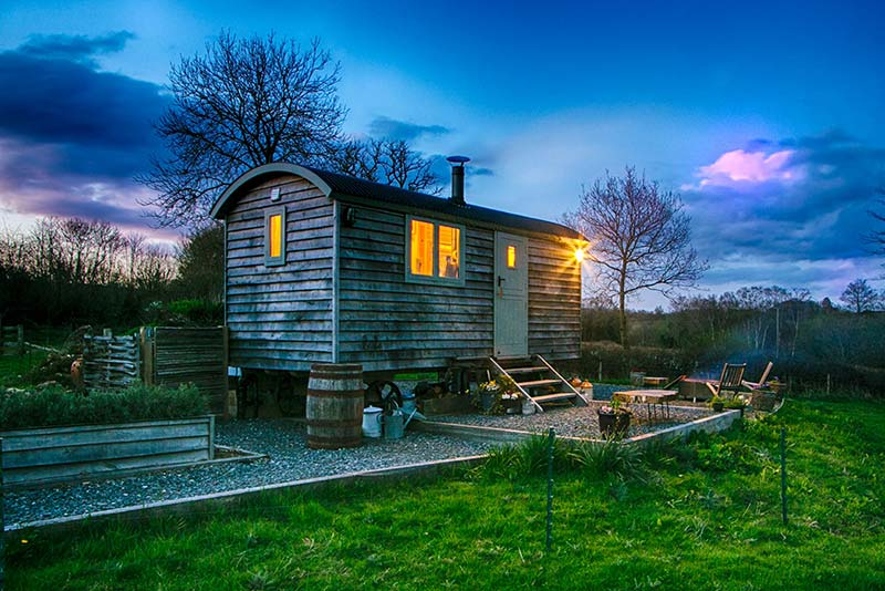 Two Blackdown Huts make The Times' winter glamping top 10!