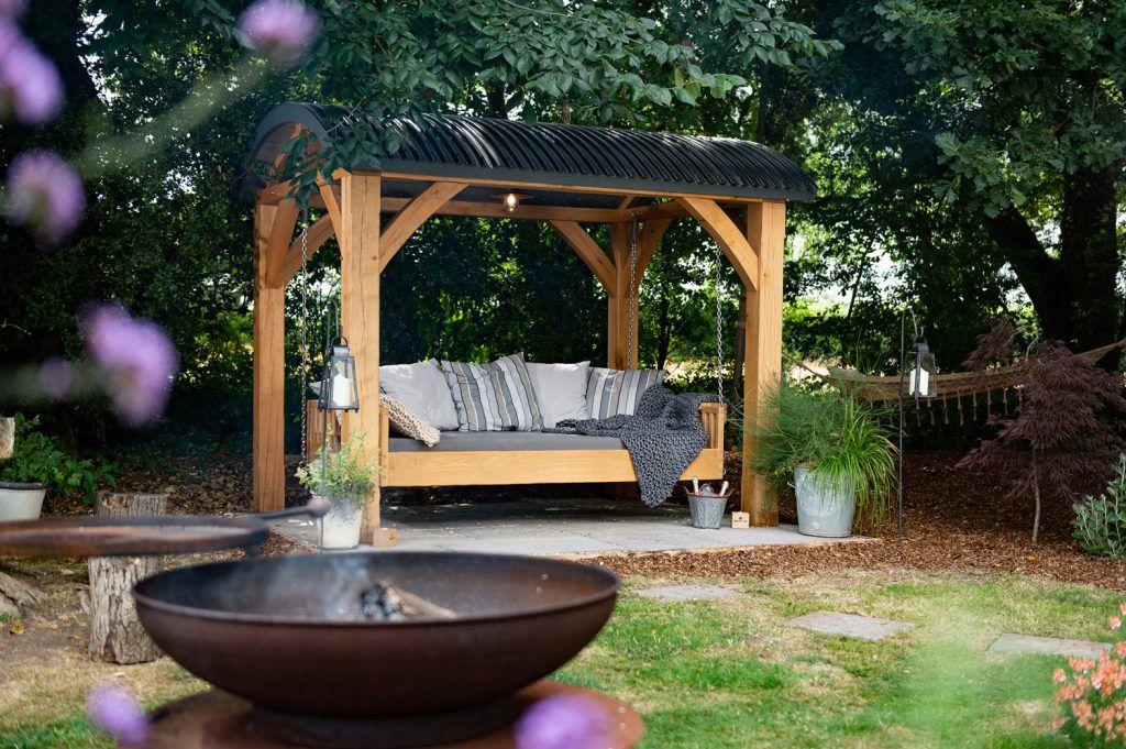 Oak Canopy Swinging Day Bed